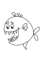 Coloriage poisson le piranhas