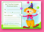 Carte invitation enfant: le clown rigolo